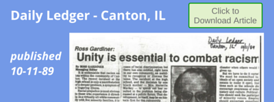 """Unity is essential to combat racism"" Daily Ledger Canton, IL 10-11-89"